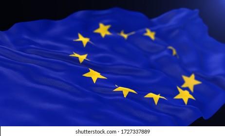 European Union flag 3d render for background