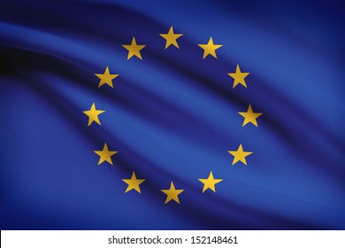 European Union flag blowing in the wind. Part of a series.