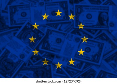 European Union Flag with Dolar Money. EU flag concept design.