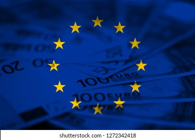 European Union Flag with Euro Money. EU flag concept design background.
