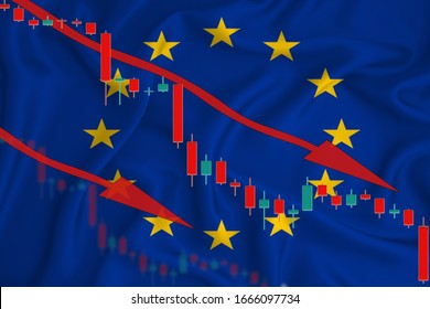 European Union flag, the fall of the currency against the background of the flag and stock price fluctuations. Crisis concept with falling stock prices of companies.