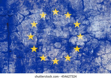 The European union flag painted on grunge wall