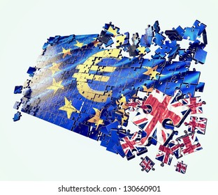 An European Union flag puzzle points UK separation in/out referendum