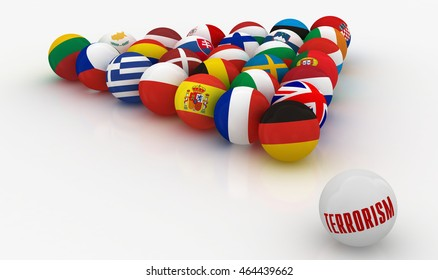 European Union in the form of pyramids of billiard balls - the threat of terrorism - 3D illustration