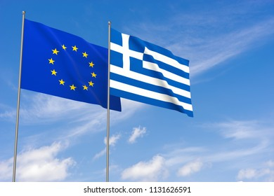 European Union and Greece flags over blue sky background. 3D illustration