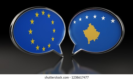 European Union and Kosovo flags with Speech Bubbles. 3D illustration
