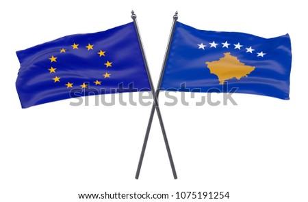 European Union Kosovo Two Crossed Flags Stock Illustration