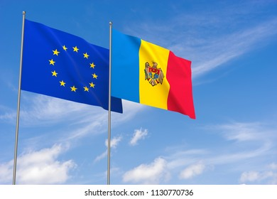 European Union and Moldova flags over blue sky background. 3D illustration