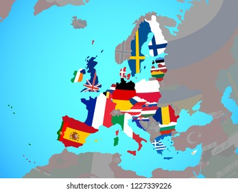 European Union with national flags on blue political globe. 3D illustration.