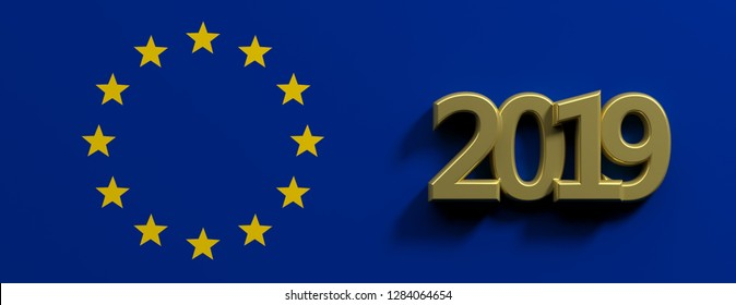 European Union parliament 2019 election. Gold 2019 number and a golden stars circle on blue background. 3d illustration