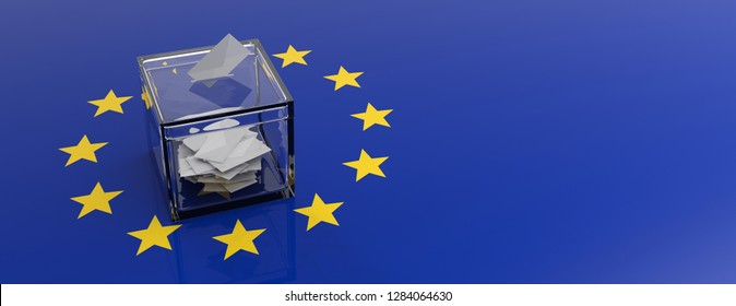 European Union parliament election concept. Voting box on EU flag background. 3d illustration