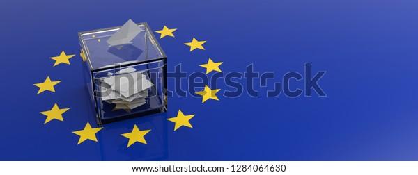 European Union parliament election concept. Voting box on EU flag background. 3d illustration