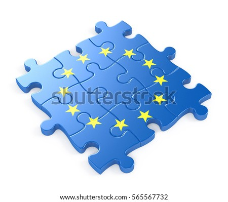 European Union Puzzle. 3D illustration