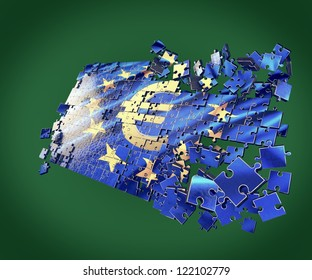 The European Union puzzle with Euro symbol points economic crisis