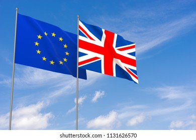 European Union and United Kingdom flags over blue sky background. 3D illustration