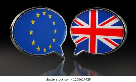 European Union and United Kingdom flags with Speech Bubbles. 3D illustration
