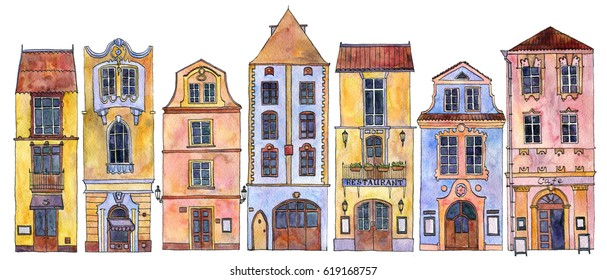 European urban residential houses, painted in watercolor, city buildings isolated at white background, hand drawn illustration