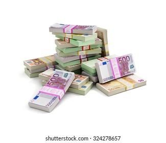 Euros money stack isolated on white background