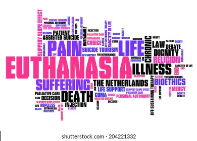 Euthanasia issues and concepts word cloud illustration. Word collage concept.