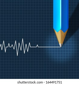 Euthanasia Medical Intervention as a medical health care concept of doctor social dilemma in end of life termination as a pencil drawing an ecg or ekg flatline or flat line on a monitor graph.