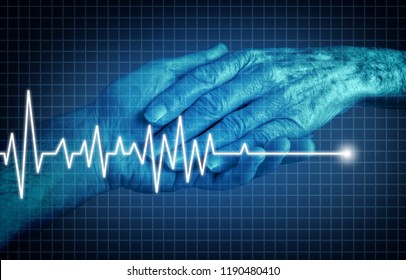 Euthanasia terminally ill patient ending of life concept as a medical Intervention to end pain and suffering as the hand of an elderly person with an ecg or ekg flatlinein in a 3D illustration style.