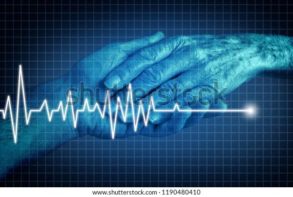 Euthanasia tödlich kranken Patienten Ende des Lebenskonzepts als medizinische Intervention zu beenden Schmerzen und Leiden als die Hand einer älteren Person mit einem ekg oder ekg flatlinein in einer 3D-Illustration Stil.