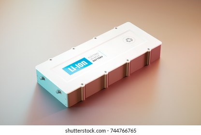 EV (electric vehicle) Li-Ion battery concept. distant view. 3d rendering.