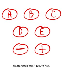 Evaluation of exam rating. Handwriting letters for examination a b c d e. illustration