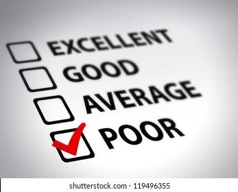 Evaluation form - poor