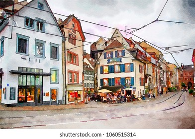evening Basel, Switzerland , watercolor style