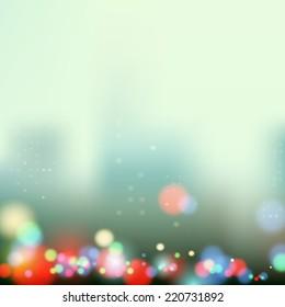 evening city lights