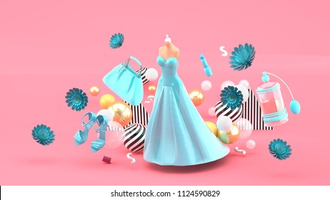 Evening dresses, bags, shoes and cosmetics floating among the flowers on a pink background.-3d rendering.