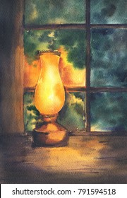 Evening hosue or temple with lighting lamp on wooden table. Hand drawn watercolor illustration.