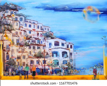 Evening italian cityscape with the sea. Oil painting artwork.