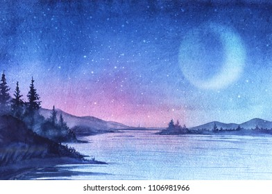 Evening landscape with forest lake, firs, mountains. Gradient sky from bright blue to pink. On the horizon sunset. Bright stars and moon. Hand-drawn watercolor illustration with post digital painting.