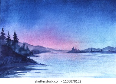 Evening landscape. Lake with a smooth water surface. On the shore grow tall fir trees. On the far bank of the mountain in the background of sunset. Gradient of the sky from bright blue to lilac.