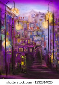 Evening narrow street with retro street lamps. Oil painting cozy cityscape.