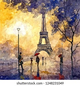 Evening in Paris. Painting wet watercolor on paper. Naive art. Abstract art. Drawing watercolor on paper.