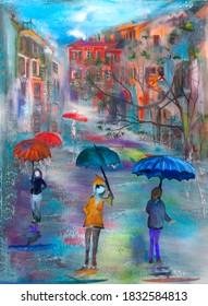 Evening rain in St. Petersburg. Oil on canvas.