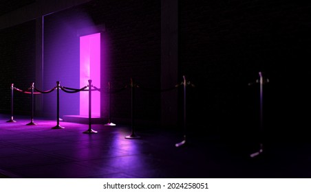 An evening scene outside a nightclub entrance emitting a pink light and an empty queue demarcated with barrier posts and rope - 3D render