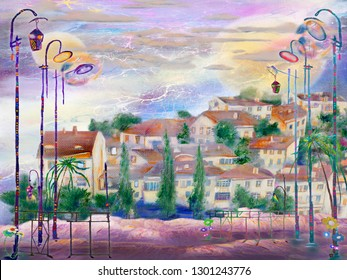 Evening spanish town and old lanterns. Oil painting artwork.