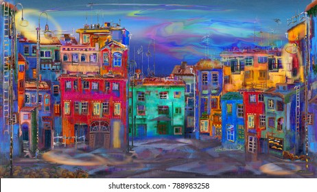 Evening street with colorful homes