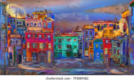 Evening street with colorful homes and one lantern