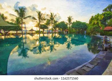 Evening sunset in Vietnam. Oil painting, digital