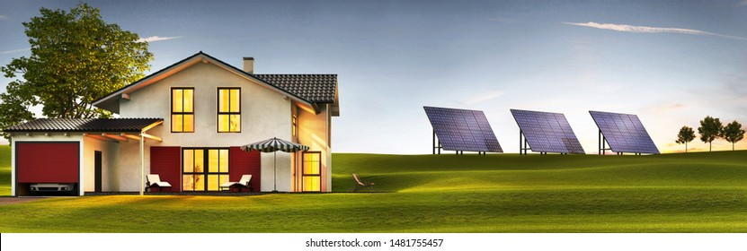 Evening view of a modern house with a lawn and solar panels. 3d rendering