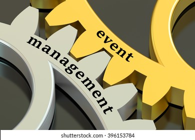 Event Management concept on the gearwheels, 3D rendering