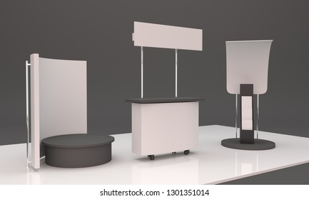 Event Product Promotion Booth With Brochure, Flyer Holder Dispenser Stand . 3D render