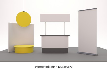 Event Product Promotion Booth. Product display stand with copy space for display of content design. 3D render