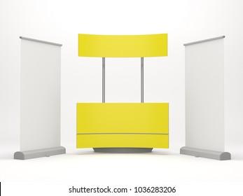Event Promotion Kiosk Or Stand. 3D render
