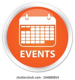 Events orange glossy round button
